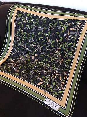 Lovely Floral Authentic Lanvin 100% Silk Scarf 30x30 Made in France EUC