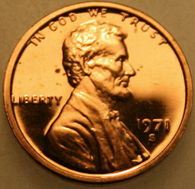 1971-S Lincoln Memorial Cent Proof Red Penny