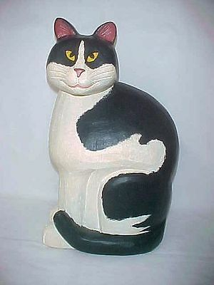 "Large 15"" Carved Wood Tuxedo Cat"