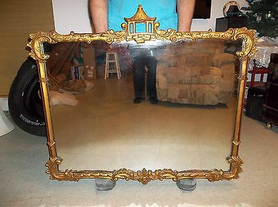 Antique Carved Pagoda Wall Mirror Gold Gilded Chippendale Style Beautiful Large