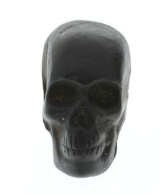 Large Skull Skeleton Paperweight Heavy Cast Iron with Antique Patina