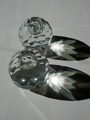 """3"""" Dia. Elegant, Faceted Leaded Cut Crystal Candle Holders 1950's"""