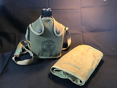 Old Vtg BSA Boy Scouts LOT Utility Toiletries Bag U.S. 1945 Canteen & Cover