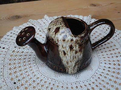 Vintage Retro Foster Pottery Watering Can Brown Mottley White Design Home Decor