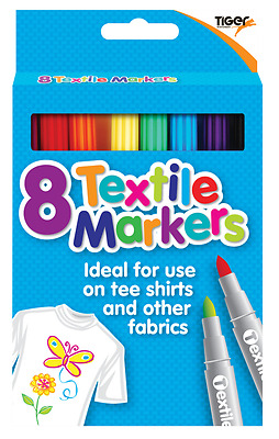 Fabric Textile Markers T Shirt Pens Assorted Colours Pack of 8