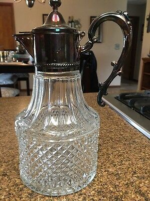 Vintage Glass And Silverplate Claret Made In Italy