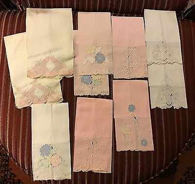 Lot of 10 Vintage MADEIRA EMBROIDERED LINEN Hand Towels NWT