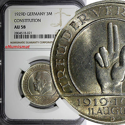 Germany, Weimar Republic Silver 1929 D 3 Reichsmark NGC AU58 Constitution KM# 63