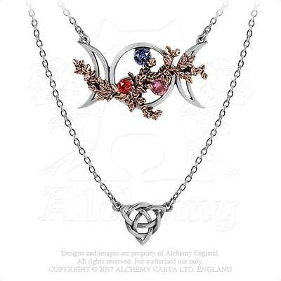 Alchemy Gothic Wiccan Goddess Maiden Mother Crone Moon Phases Crystal Necklace