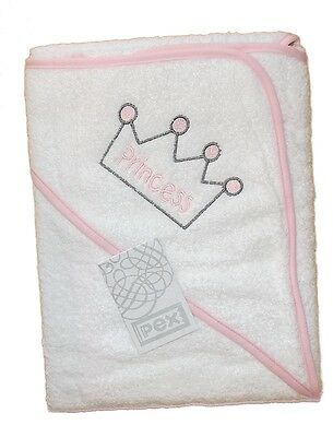 One Baby Girls Quality White Hooded Towel Robe With Princess Design by Pex