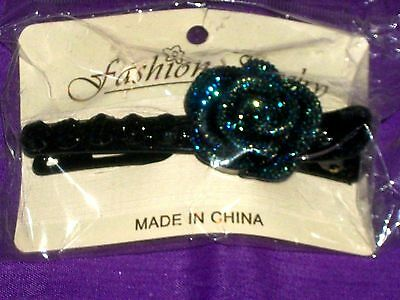 Hair Accessory Fashion Jewelry Black Plastic Clip with Blue Metallic Flower New