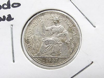 1937 French Indo China 10 Cent Silver Coin Antique Free Shipping