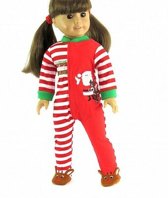 "Santas Little Helper Footie Pajamas Fits 18/"" American Boy Or Girl Doll Clothes"