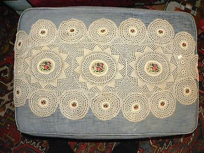4774. Antique Handmade Belgian Lace Dressing Table Runner with Rose Embroidery