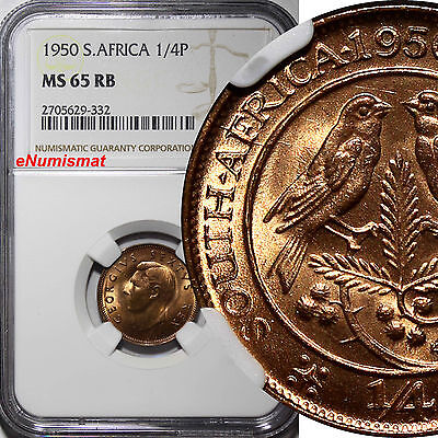 South Africa George VI Bronze 1950 1/4 Penny NGC MS65 RB  KM# 32.1