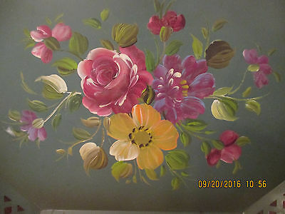 Vintage Large Hand Painted Metal Tole Tray - Floral Roses