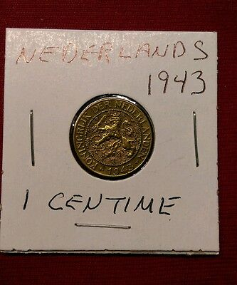 Netherlands Suriname 1 Cent, 1943, Rare XF-AU WWII Brass Coin