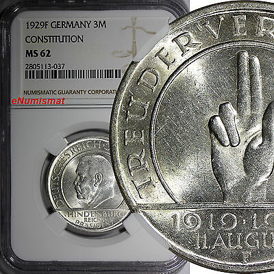Germany,Weimar Republic Silver 1929 F 3 Reichsmark NGC MS62 Constitution KM# 63