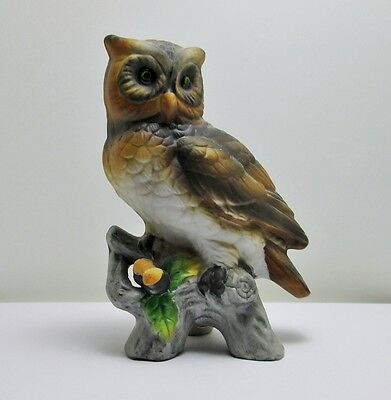 Owl Figurine - Hand Painted - Vintage - Made in Korea