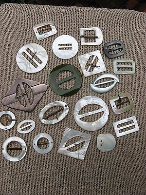 lot of 20 antique mother of pearl + Bakelite sewing BUCKLES~crafts~jewelry~shell