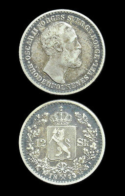 1873 Norway Silver 12 Skilling - Rare Type