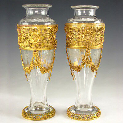 Pair Antique French Empire Style Gilt Bronze Ormolu Vases Engraved Flowers Glass