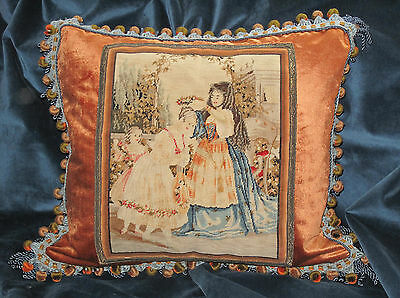 19TH c  FRENCH WOOL SILK NEEDLEPOINT TAPESTRY PILLOW- PICTORIAL WOOLWORK