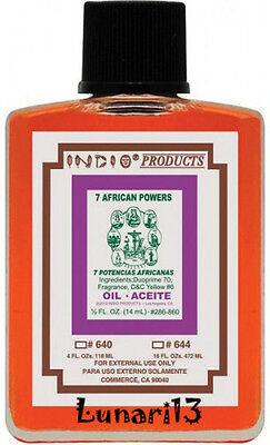 7 African Powers, Oil, Indio Products, 4 oz, Wicca, Lunari13, Santeria, Brujeria