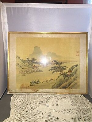 Antique Chinese Watercolor Landscape Silk Material Seal Stamp Marking