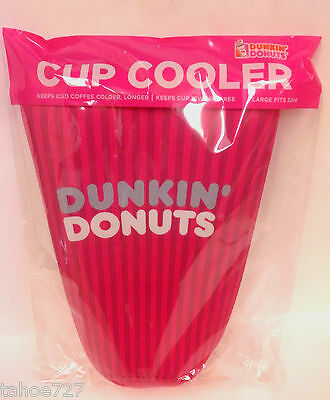 LARGE 32 oz. -DUNKIN DONUTS ICE COFFEE KOOZIE -- 2 TONE PINK --  NEW IN PKG.