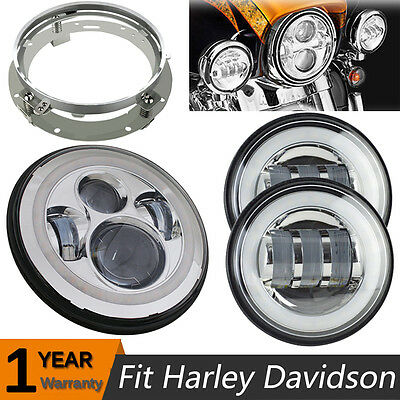 "Chrome 7"" LED Projector Daymaker Headlight Passing Light Harley Davidson Touring"