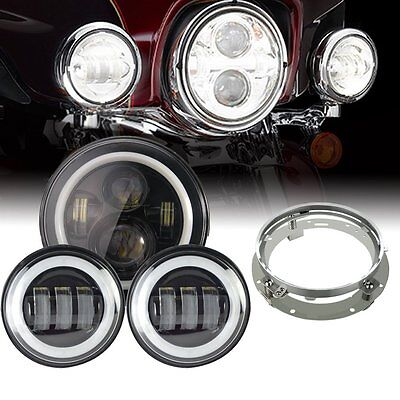 "Black 7"" LED Daymaker Headlight Passing Lights Harley Davidson Road King FLHR"