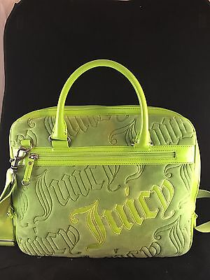 JUICY COUTURE Lime Green Velour Computer Bag Laptop Messenger Bag