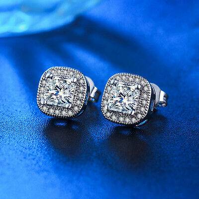 18K White Gold Filled Made With Swarovski Crystal Simulated Diamond Stud Earring