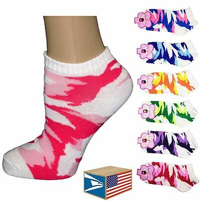 6 PAIR LOT WOMENS ANKLE SOCKS Camo Camouflage ADULT SIZE NEW WHOLESALE! #E3729