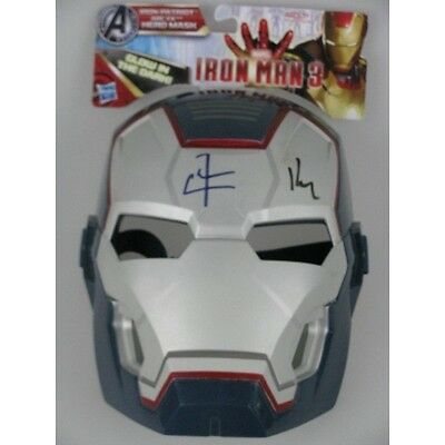ROBERT DOWNEY JR & DON CHEALE Hand Signed Iron Man 3 Mask  + Photo Proof