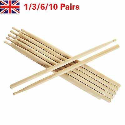 "1/2/6/10 Pairs 5A Drum Sticks 16"" Beginners Practice Bulk Maple Wood DrumSticks"