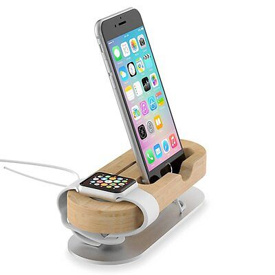 Bamboo Aluminum Charger Dock Station Stand Holder For Apple Watch iWatch iPhone