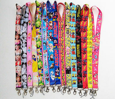 Disney Princess Frozen Pokemon Mickey Spiderman Neck Lanyard ID Badge Key Holder