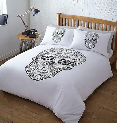 Day of The Dead Sugar Skulls Black & White Duvet Quilt Cover Linen Bedding Sets