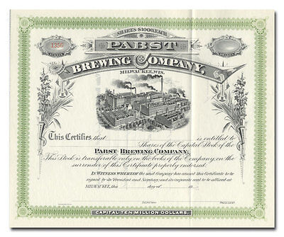 Pabst Brewing Company Stock Certificate