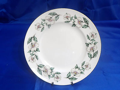 Vtg CROWN STAFFORDSHIRE Pear Blossom Salad Plate - White Flowers w/ Green Leaves