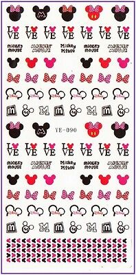 Nail Art Water Decals Stickers Transfers Red Bows Hearts Minnie Mickey Mouse 190