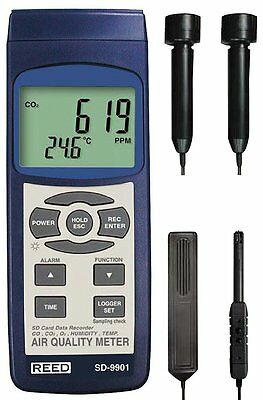 REED SD-9901 Indoor Air Quality Meter, Datalogger (O2, CO2, CO, Temp/RH)