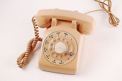 Vintage 1960s Northern Light Beige Electric Rotary Telephone Type 500 G3 handset