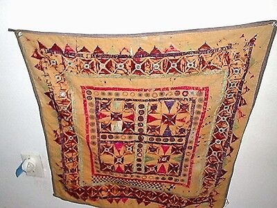 Very Old Indian Embroidered Mirrored Wall hanging Square 26 by 26 inches