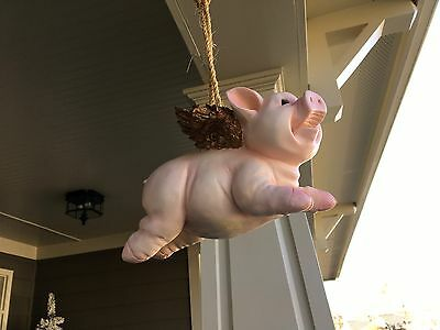 """Vintage Resin """"flying Pig"""" Hanging Figurine - Pink With Gold Wings"""