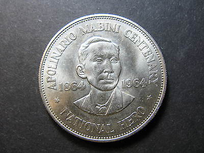 Philippines 1 Peso Silver Coin Dated 1964, Lightly Toned Uncirculated