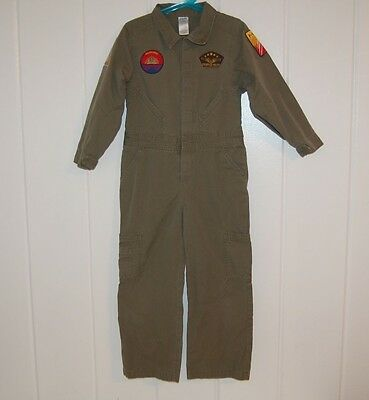 GYMBOREE FIGHTER PILOT COSTUME Boys 5-6 Dress Up Aviator Jumpsuit Pretend Play