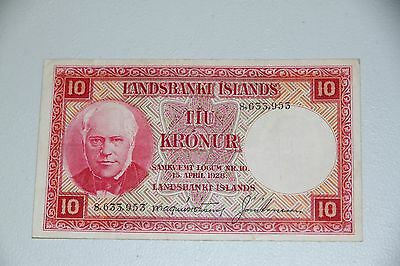 Iceland 10 Kronur  L.15.4.1928 P.33  Circulated Banknote RMC 111